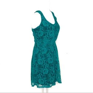 Express Teal green lace overlay boho dress A23